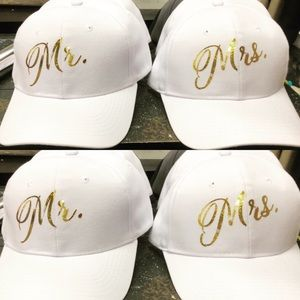 Accessories - White Mr. and Mrs. Ball Caps with Gold Letters